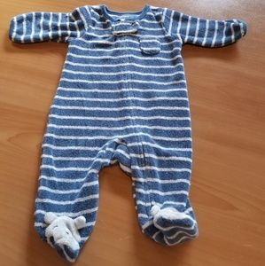 Carter's Blue and White Striped Bear Toes Pajamas